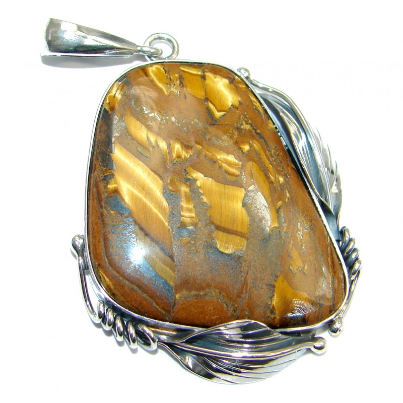 Large Oversized Golden Tigers Eye Oxidized Sterling Silver handmade Pendant