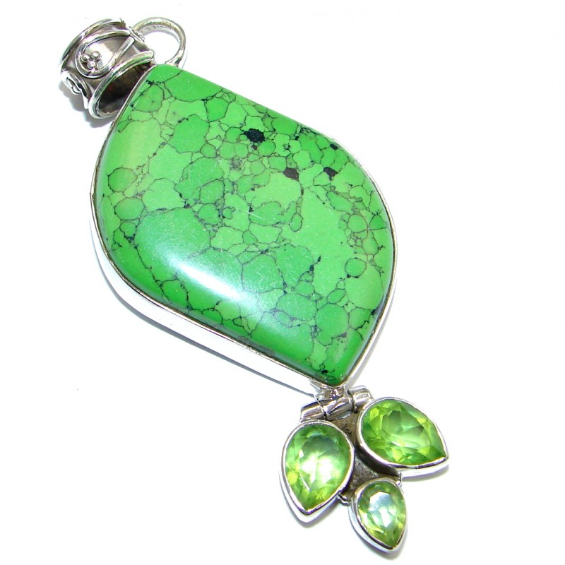 Created Green Turquoise & Quartz Sterling Silver Pendant