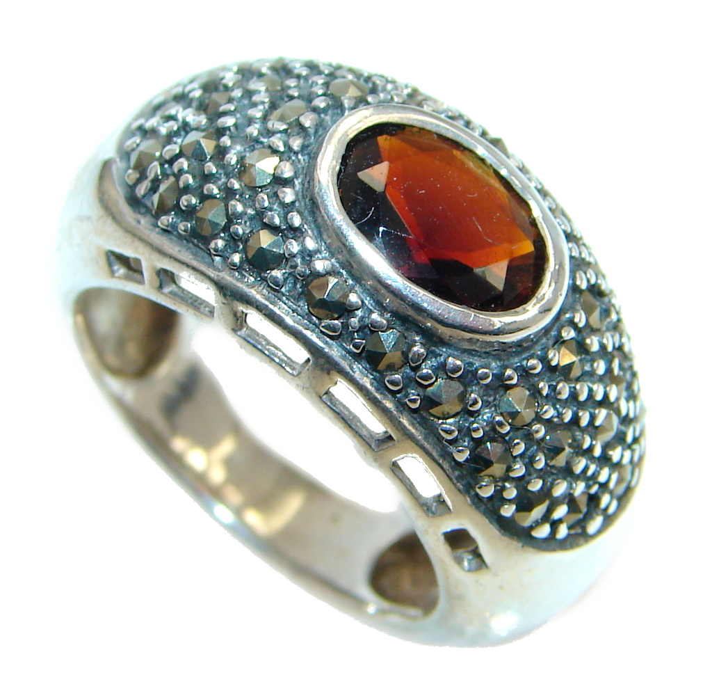 genuine garnet marcasite sterling silver ring size 6 5