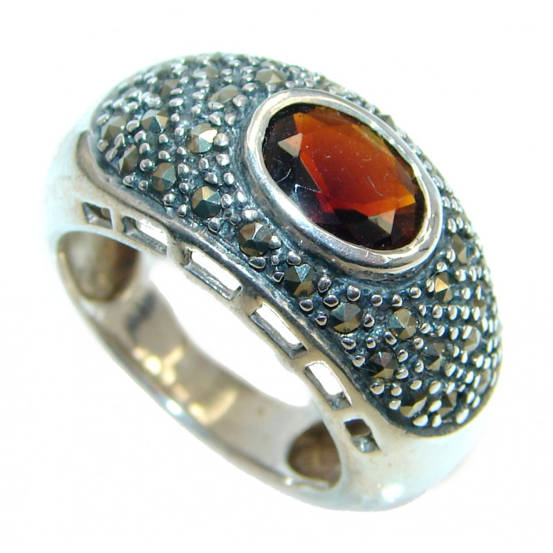 Genuine Garnet Marcasite Sterling Silver ring size 6