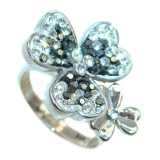 Cubic Zirconia Marcasite Sterling Silver handcrafted Ring size 8 1/4
