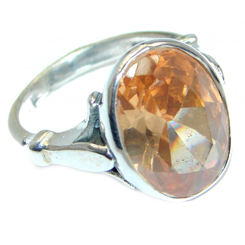 Great Cubic Zirconia Sterling Silver handcrafted Ring size 7