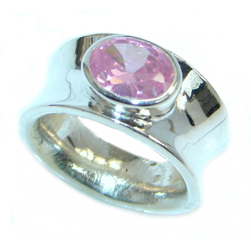 Pink Cubic Zirconia Sterling Silver handcrafted Ring size 7 1/2