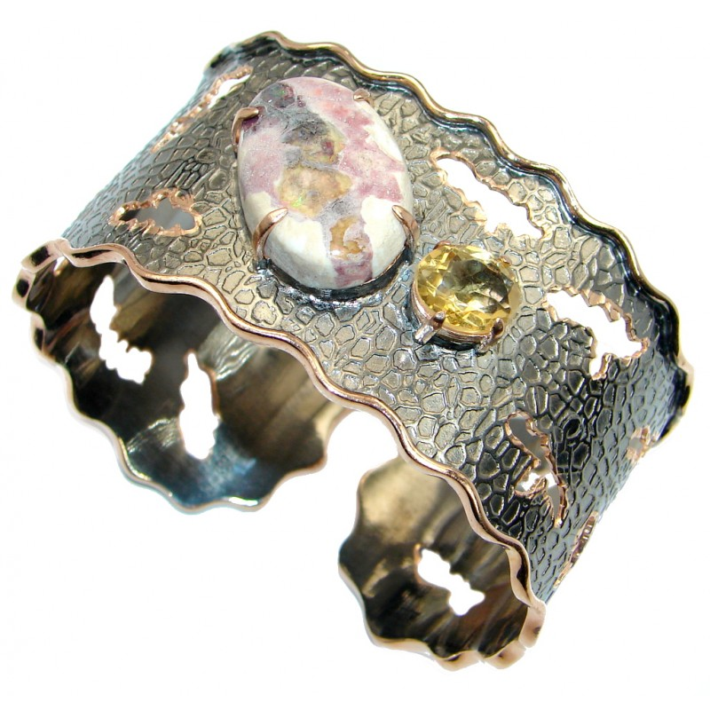 One of the kind Mexican Fire Opal Rose Gold Over Oxidized Sterling Silver Bracelet / Cuff