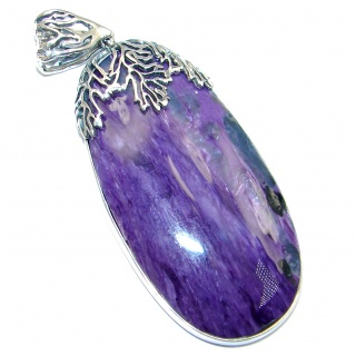 Huge Genuine AAA Purple Siberian Charoite Sterling Silver Pendant