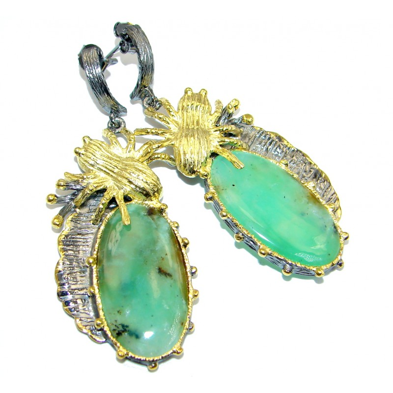 Huge Amazing Green Chrysophrase Gold plated over Sterling Silver stud earrings