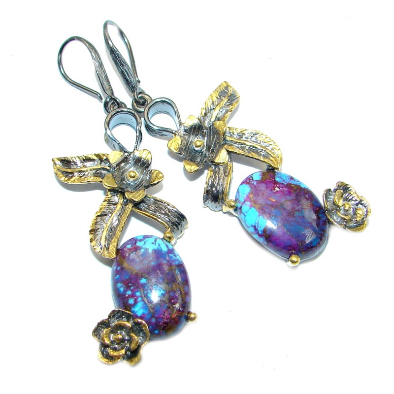 Perfect Purple Turquoise Gold plated over Sterling Silver handcrafted earrings