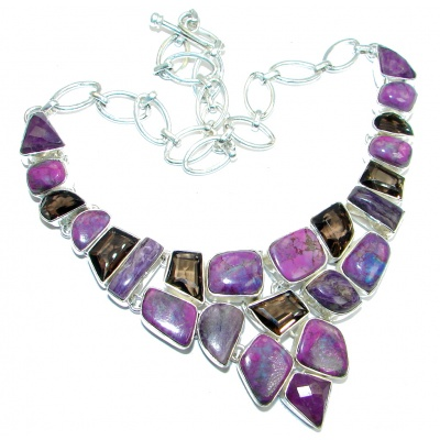 Path Of Life Purple Turquoise Smoky Topaz Sterling Silver handmade Necklace