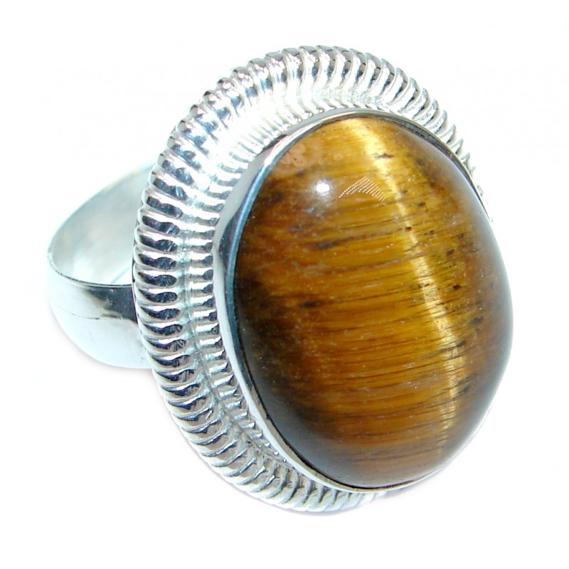Large Tigers Eye Silver Tone ring size 10 1/4