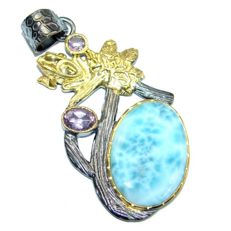 Genuine Larimar Amethyst Gold plated over Sterling Silver handmade Pendant