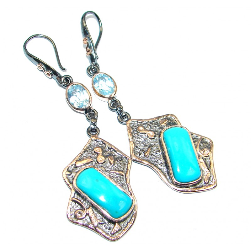 Genuine Sleeping Beauty Turquoise Rose gold plated over Sterling Silver handcrafted Earrings