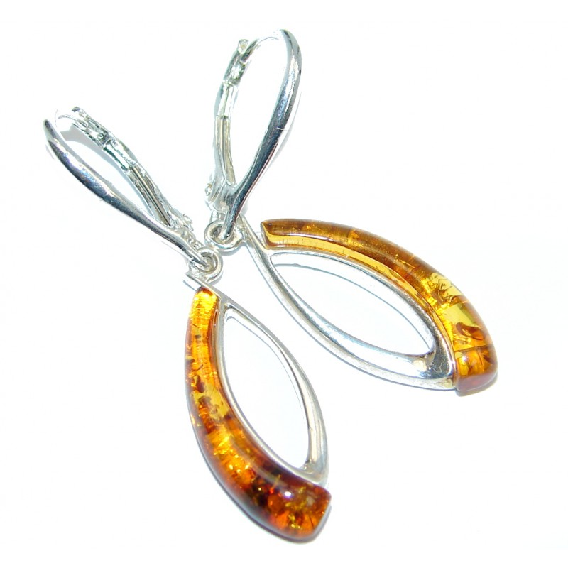 Beautiful Deep Cognac color Polish Amber Gold plated over Sterling Silver Earrings
