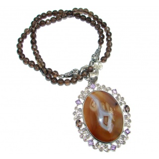 Gracious Genuine Botswana Agate Smoky Topaz Beads Sterling Silver handmade Necklace