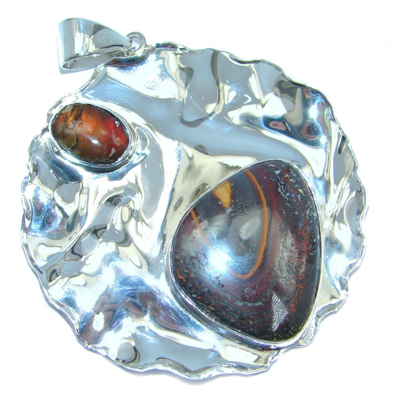 One of the kind genuine Koroit Opal Ammolite hammered Sterling Silver Pendant