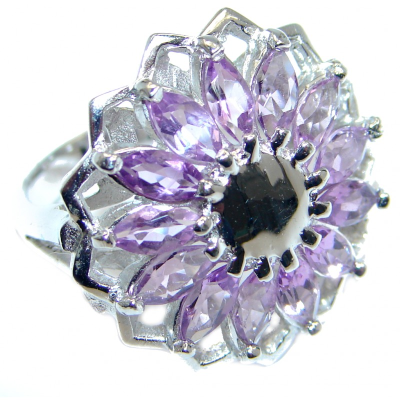 Genuine Amethyst Sterling Silver handmade ring size 6 1/2
