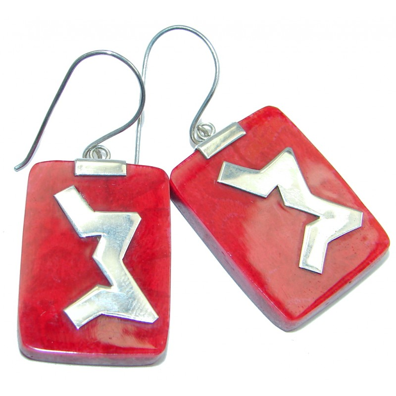 Red Fossilized Coral Sterling Silver handmade earrings
