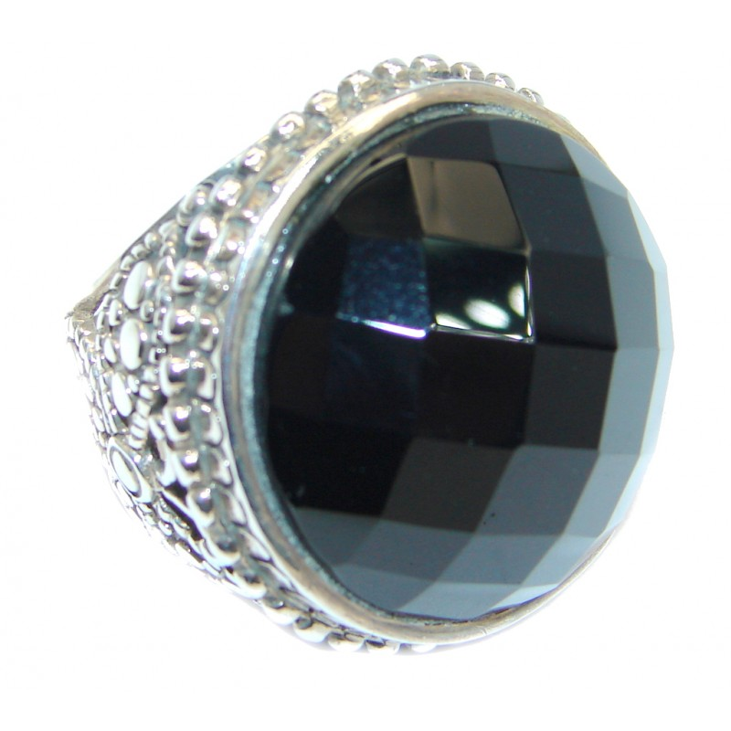 Huge Black Onyx Sterling Silver handmade ring size 8 3/4
