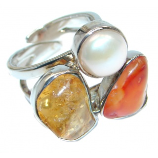 Genuine Baltic Amber Carnelian Pearl Sterling Silver handmade Ring size adjustable