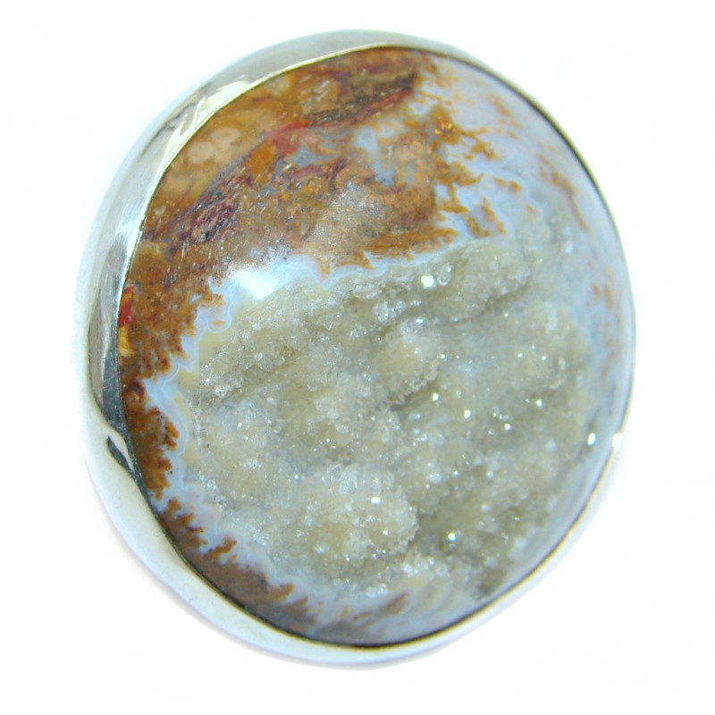 Exotic Honey color Druzy Agate Sterling Silver Ring s. 5 1/2