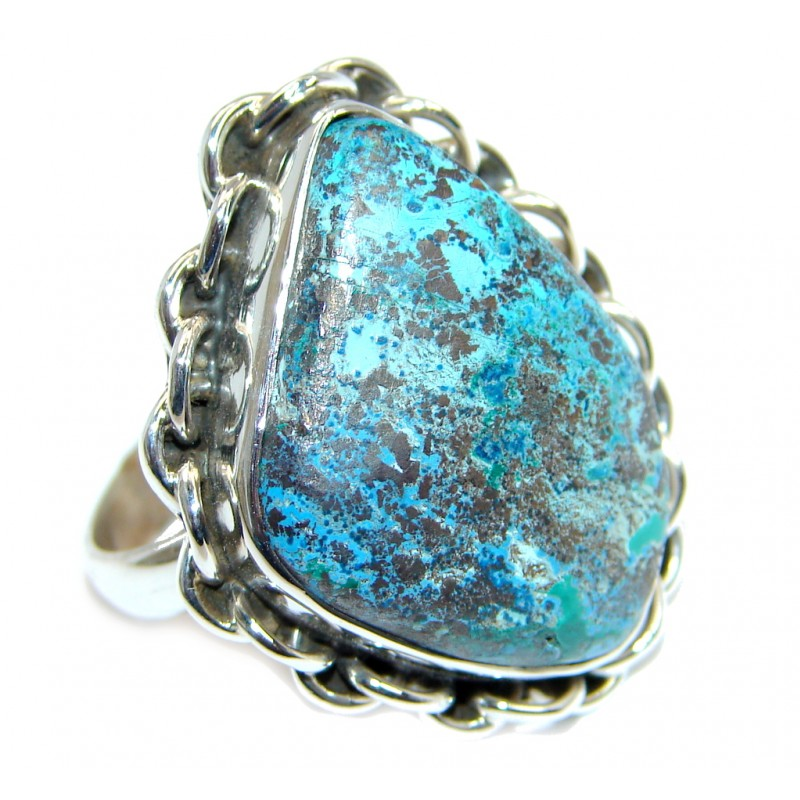 Good quality Blue Azurite Sterling Silver Ring s. 8 1/2