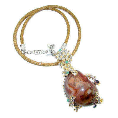 Handmade Natural 430 Ct Agate Emerald Topaz 925 Silver Stingray Leather Necklace