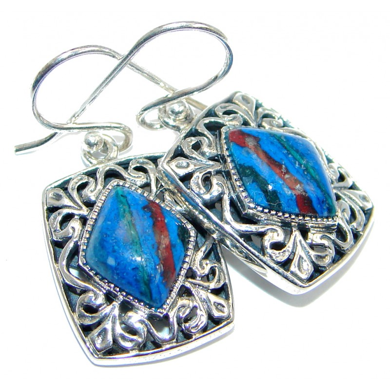 Classy Rainbow Calsilica Sterling Silver handmade earrings