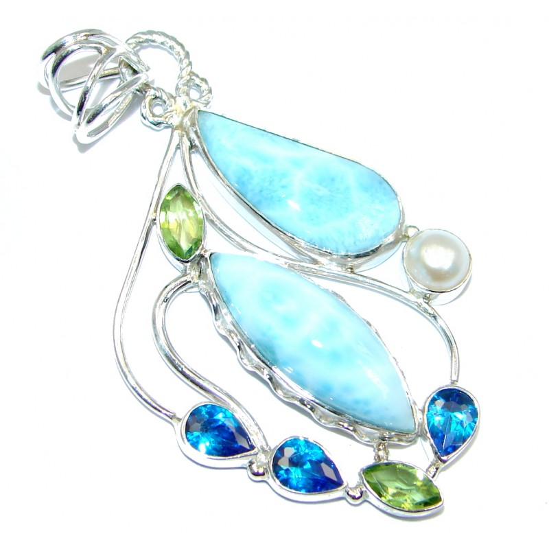 Sublime Larimar Pearl Sterling Silver handmade Pendant