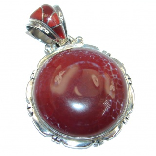 Authentic Mexican Fire Agate Sterling Silver handmade Pendant