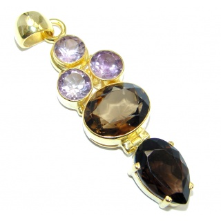 Exclusive Smoky Topaz Gold plated over Sterling Silver handmade Pendant