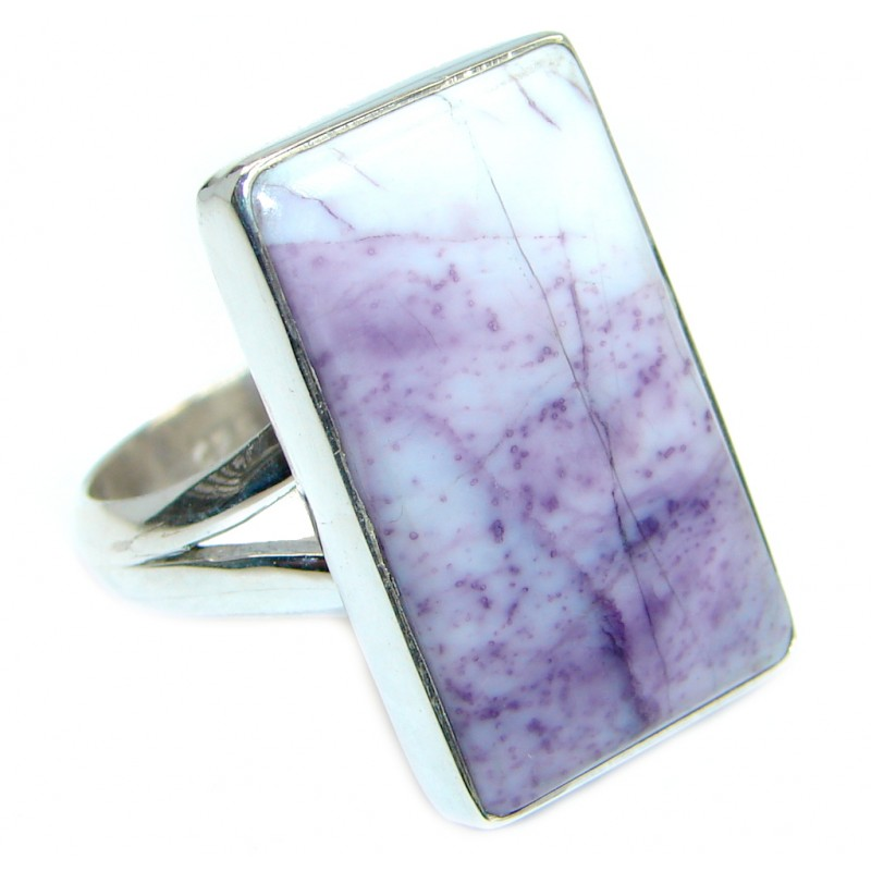 Amazing Purple Tiffany Jasper Sterling Silver ring size adjustable