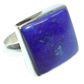 Genuine Lapis Lazuli Sterling Silver handmade Ring size adjustable