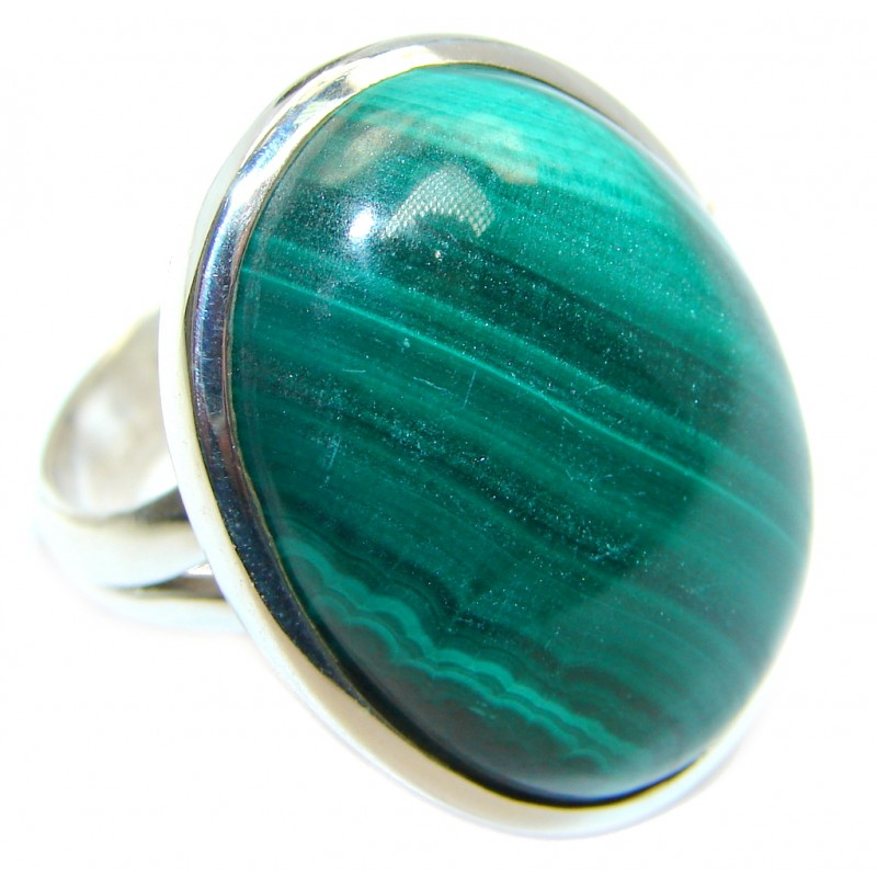 Natural Green Malachite Sterling Silver ring size adjustable