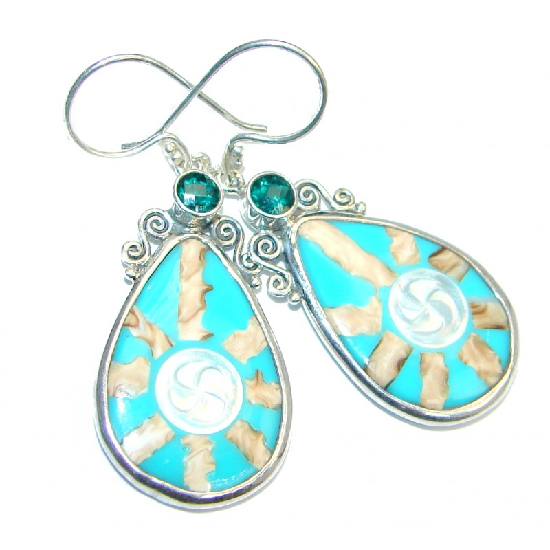 Simple Beauty Mint Shell Sterling Silver handcrafted earrings