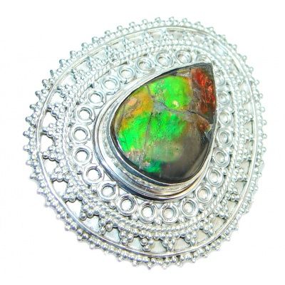 Authentic Canadian Ammolite Sterling Silver ring s. 6 handmade