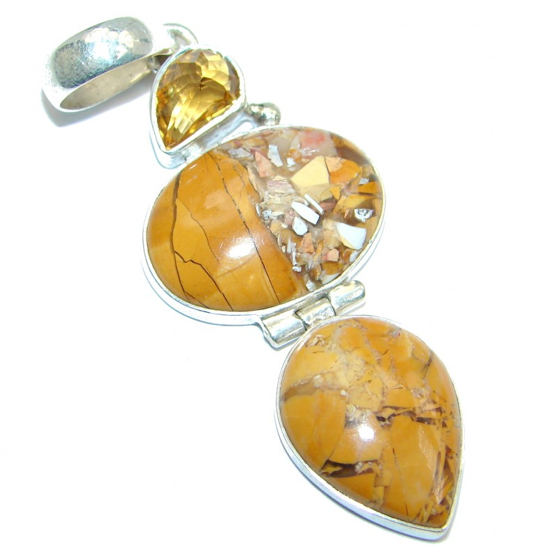 Natural Australian Brecciated Mookaite Citrine Sterling Silver handcrafted Pendant