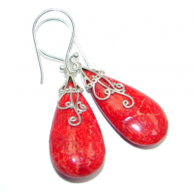 Deep Love Red Fossilized Coral Sterling Silver handmade earrings