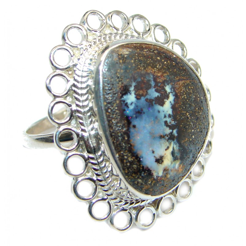 Classic Boulder Opal Sterling Silver handcrafted ring size 10