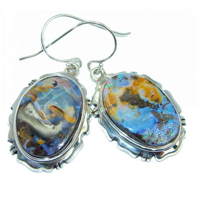 Classy Design Australian Boulder Opal Sterling Silver handmade earrings