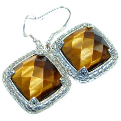 Faceted Golden Tigers Eye Sterling Silver handmade Earrings