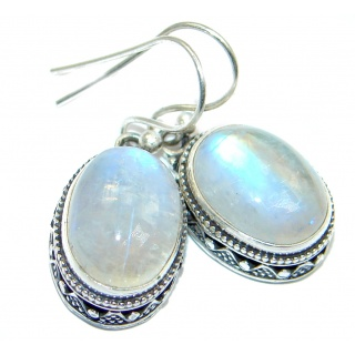 Stylish Fire Moonstone Sterling Silver handcrafted earrings