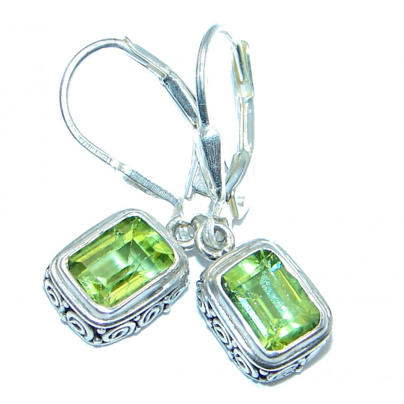Amazing genuine Peridot Sterling Silver Earrings