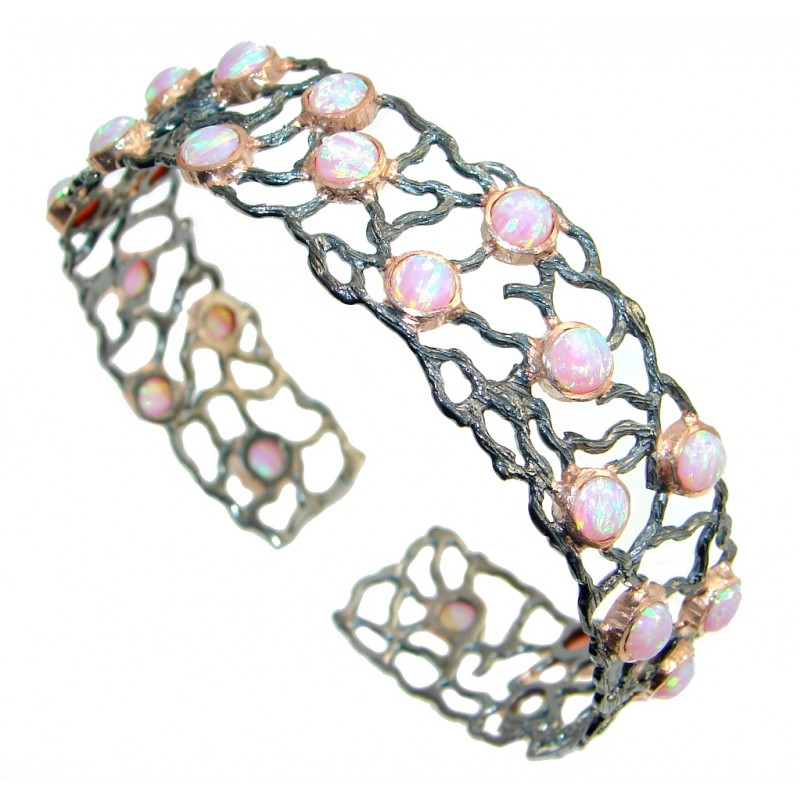 One of the kind lab. Japanese Fire Opal Rose Gold Over Oxidized Sterling Silver Bracelet / Cuff