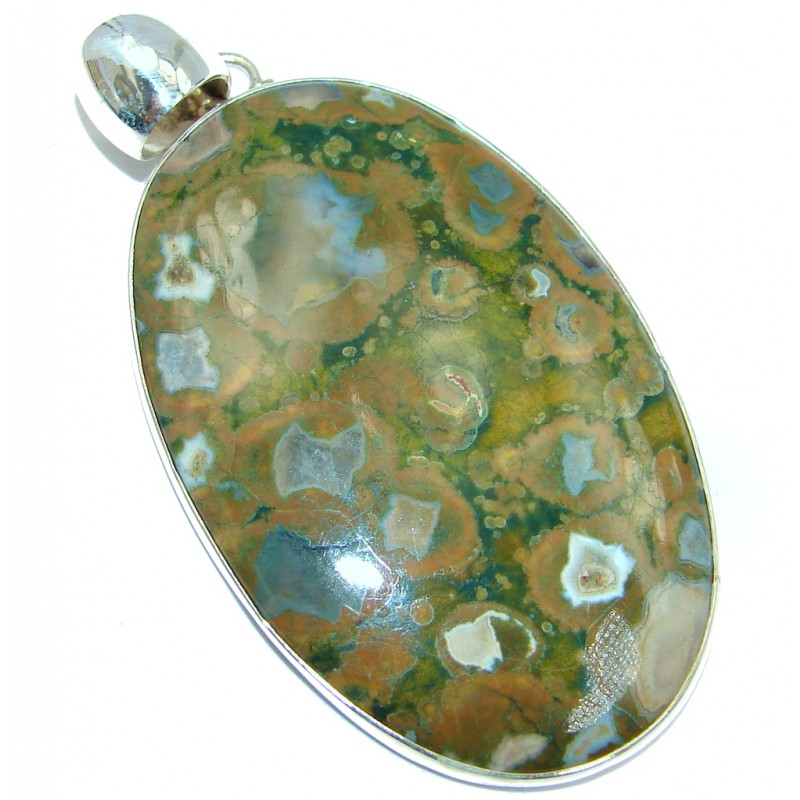 Large Great Beauty Rainforest Jasper Sterling Silver handmade Pendant