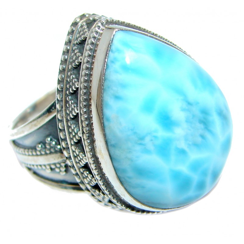 Solid Genuine Larimar Sterling Silver handmade Ring size 9