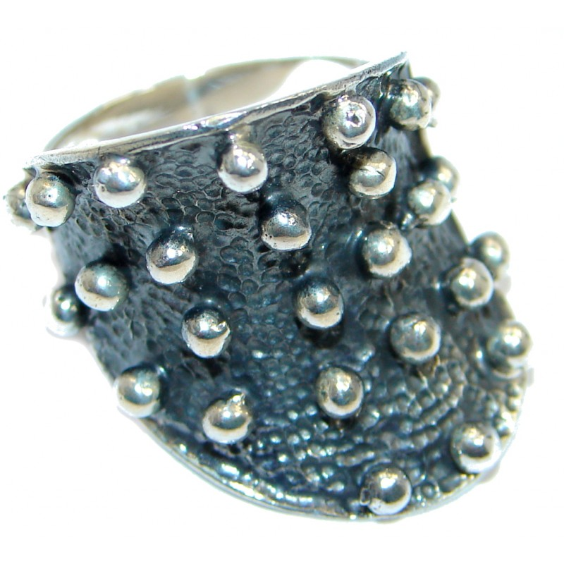Great Italy made Oxidized Sterling Silver ring; s. 8