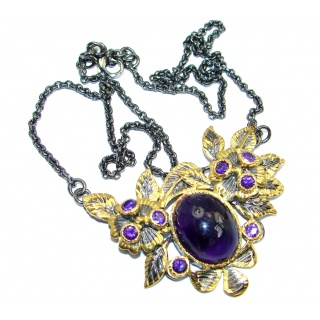 Genuine Amethyst Gold plated over Sterling Silver handcrafted necklace