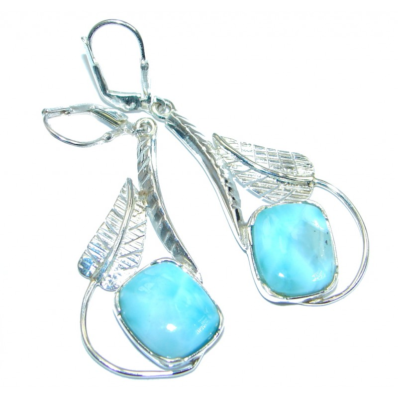 Blue Heaven genuine Larimar Sterling Silver handmade earrings