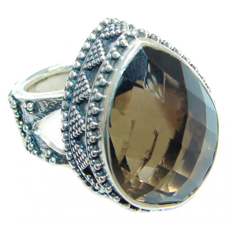 Amazing Natural Smoky Topaz Sterling Silver handmade Ring size adjustable