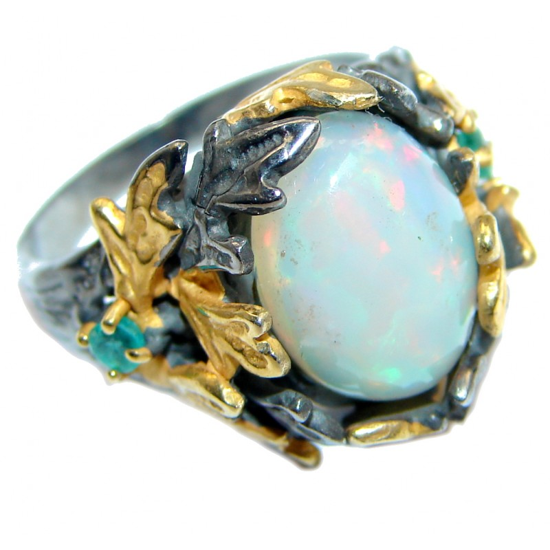 Unique Natural Ethiopian Opal Emerald Gold Rhodium plated over Sterling Silver ring s. 7 3/4