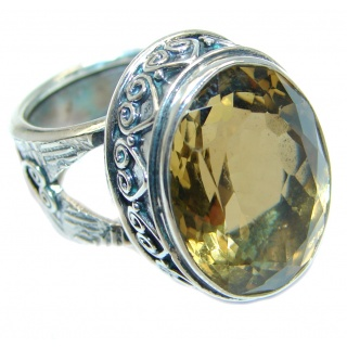 Huge created Citrine Oxidized Sterling Silver handmade ring size adjustable